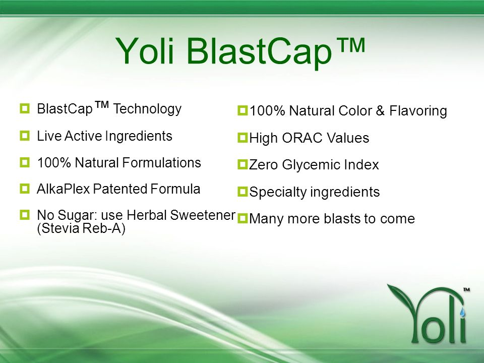 Yoli BlastCap™ 100% Natural Color & Flavoring High ORAC Values