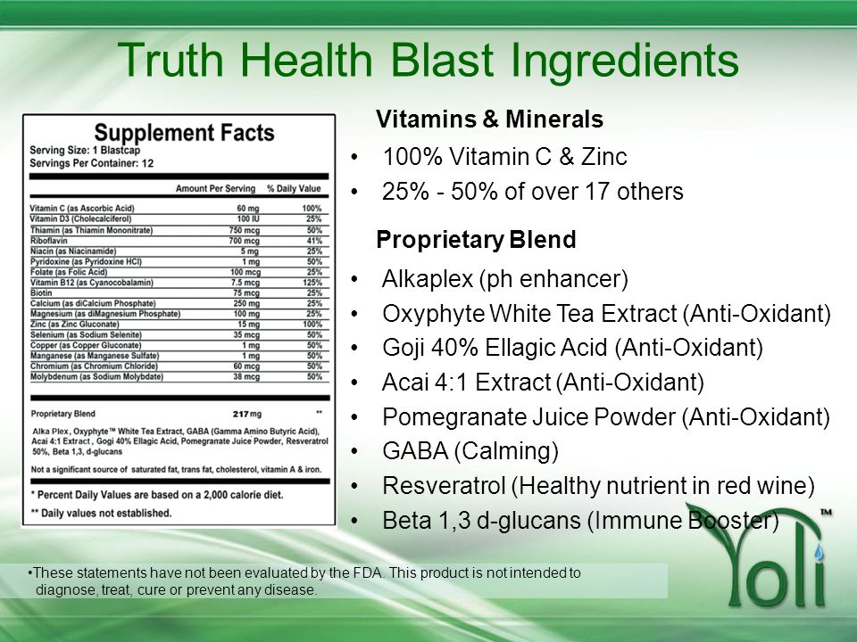 Truth Health Blast Ingredients