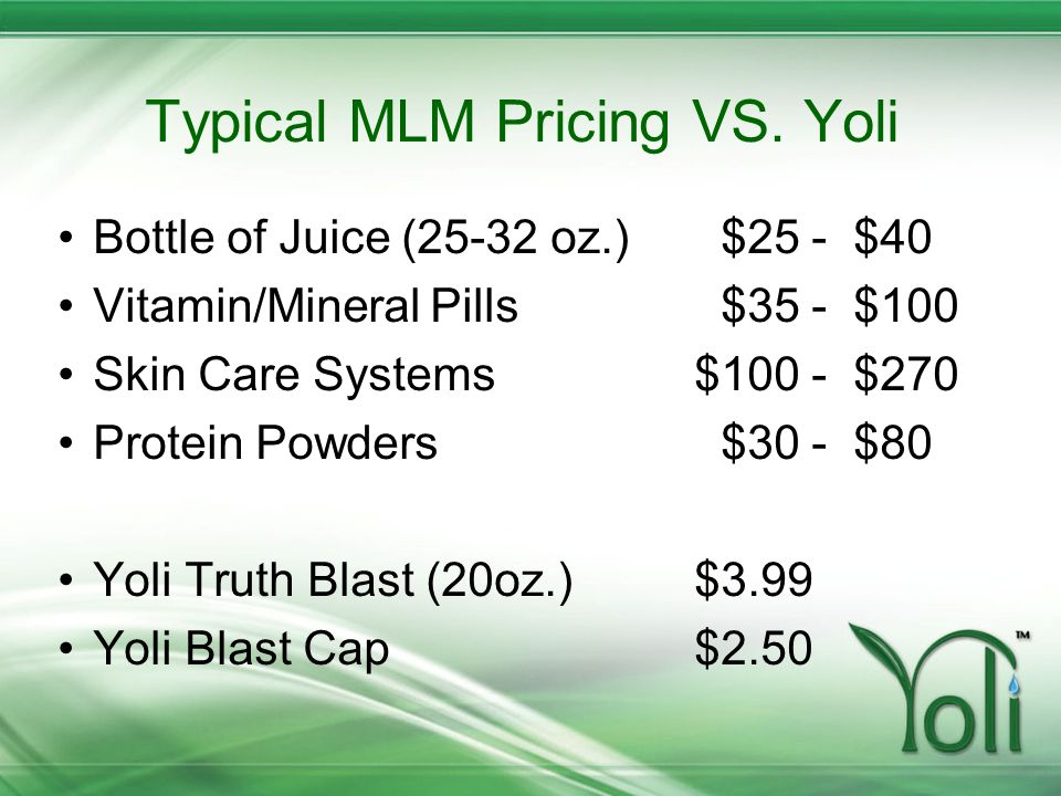 Typical MLM Pricing VS. Yoli
