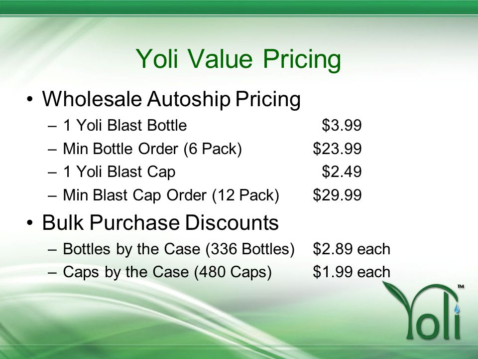Yoli Value Pricing Wholesale Autoship Pricing Bulk Purchase Discounts