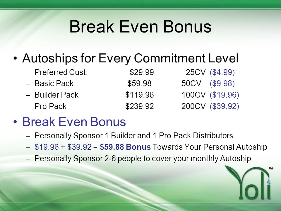Break Even Bonus Autoships for Every Commitment Level Break Even Bonus