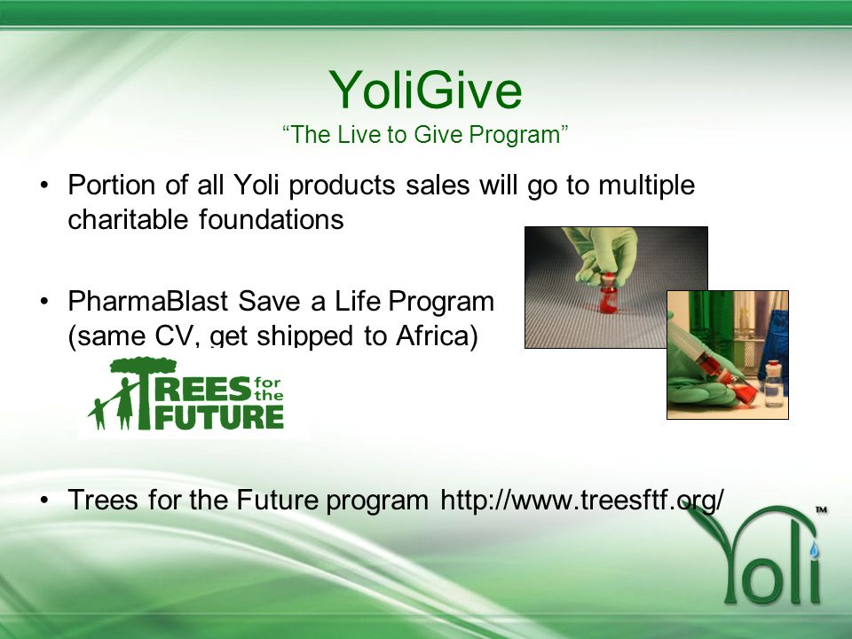 YoliGive The Live to Give Program