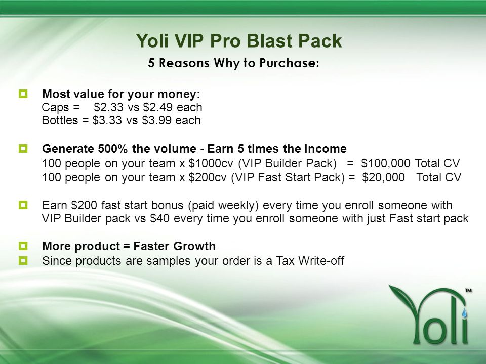 Yoli VIP Pro Blast Pack 5 Reasons Why to Purchase: