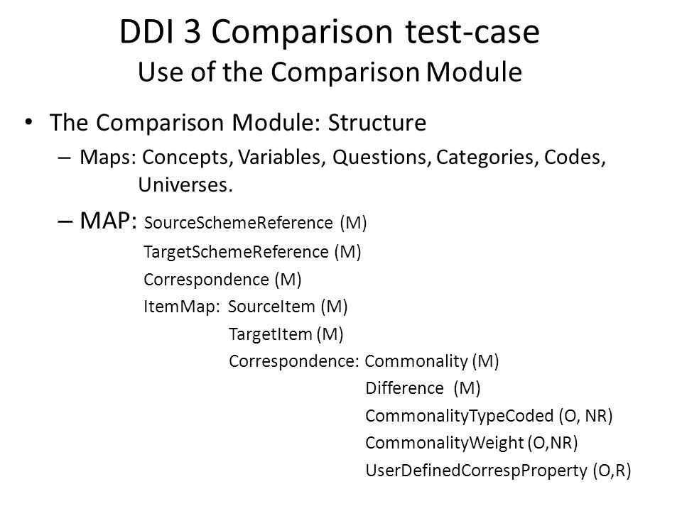 DDI 3 Comparison test-case Use of the Comparison Module