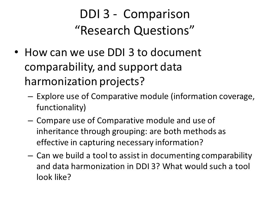 DDI 3 - Comparison Research Questions
