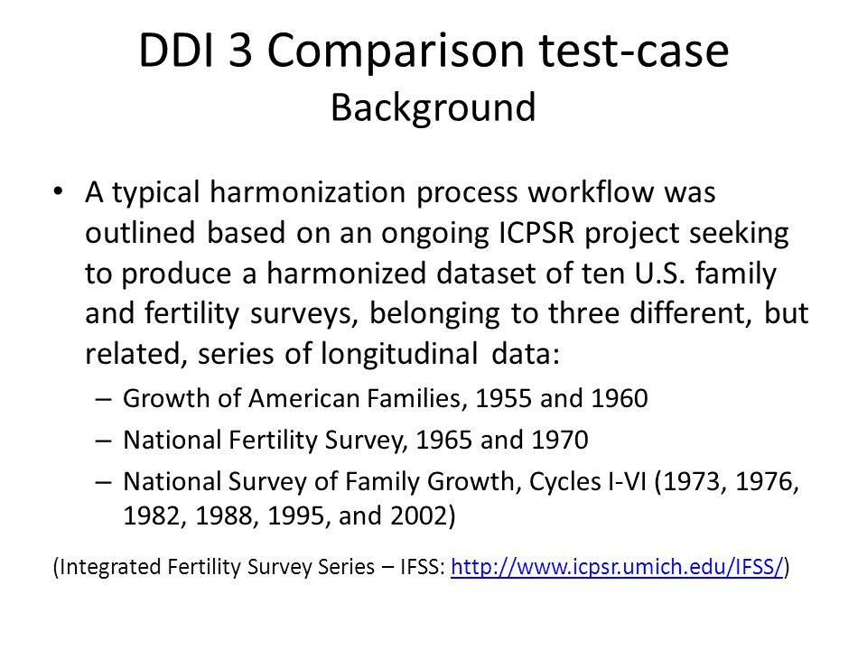 DDI 3 Comparison test-case Background