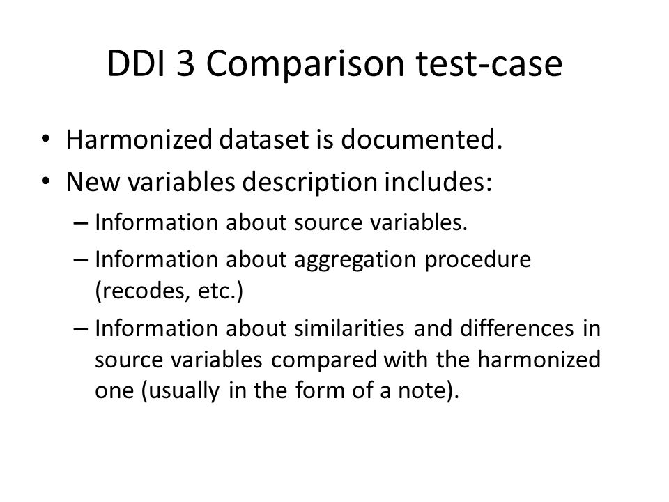 DDI 3 Comparison test-case