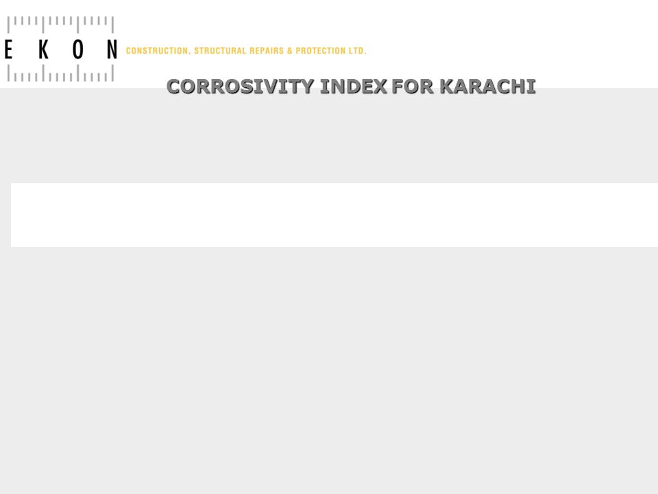 CORROSIVITY INDEX FOR KARACHI