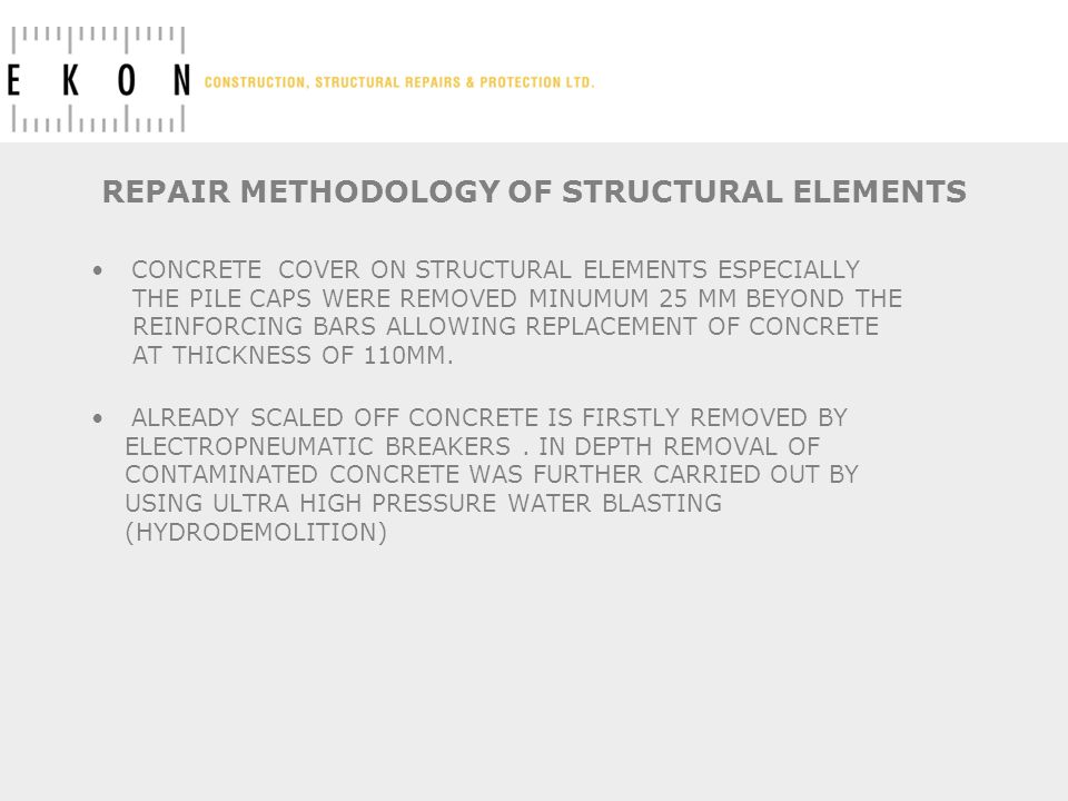 REPAIR METHODOLOGY OF STRUCTURAL ELEMENTS