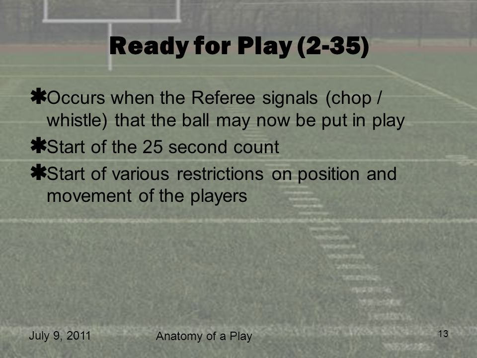 Ready for Play (2-35) Occurs when the Referee signals (chop / whistle) that the ball may now be put in play.