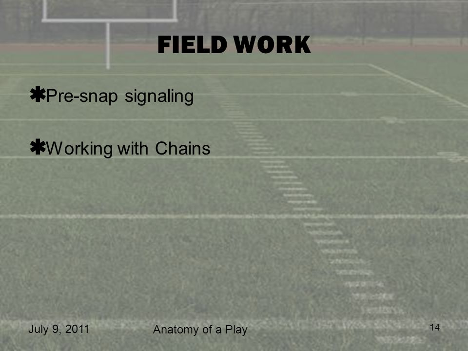 FIELD WORK Pre-snap signaling Working with Chains July 9, 2011