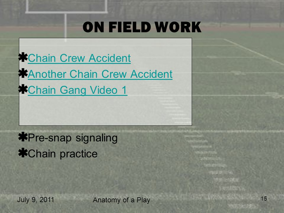 ON FIELD WORK Chain Crew Accident Another Chain Crew Accident