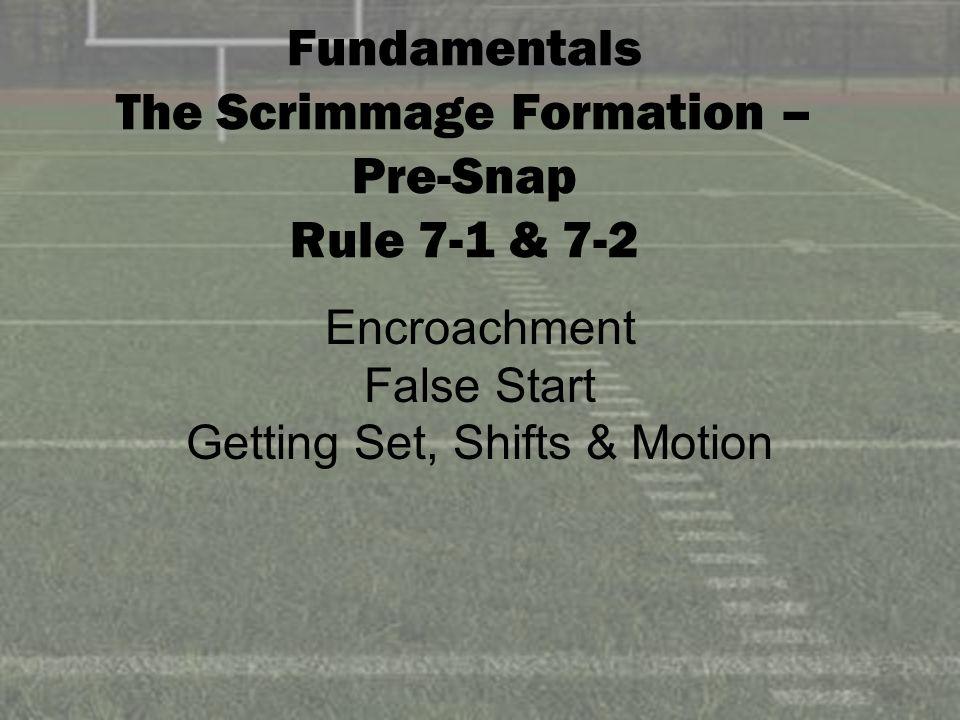 Fundamentals The Scrimmage Formation – Pre-Snap Rule 7-1 & 7-2