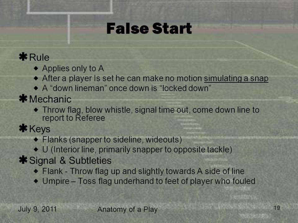 False Start Rule Mechanic Keys Signal & Subtleties Applies only to A