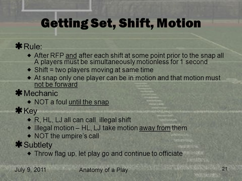 Getting Set, Shift, Motion