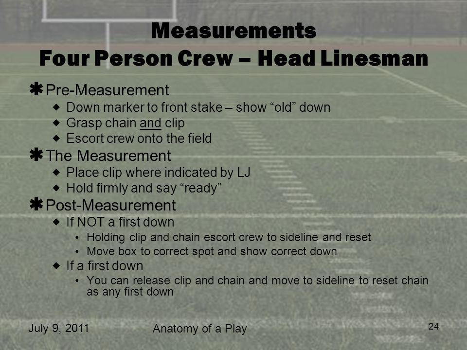 Measurements Four Person Crew – Head Linesman