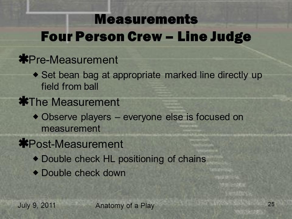 Measurements Four Person Crew – Line Judge