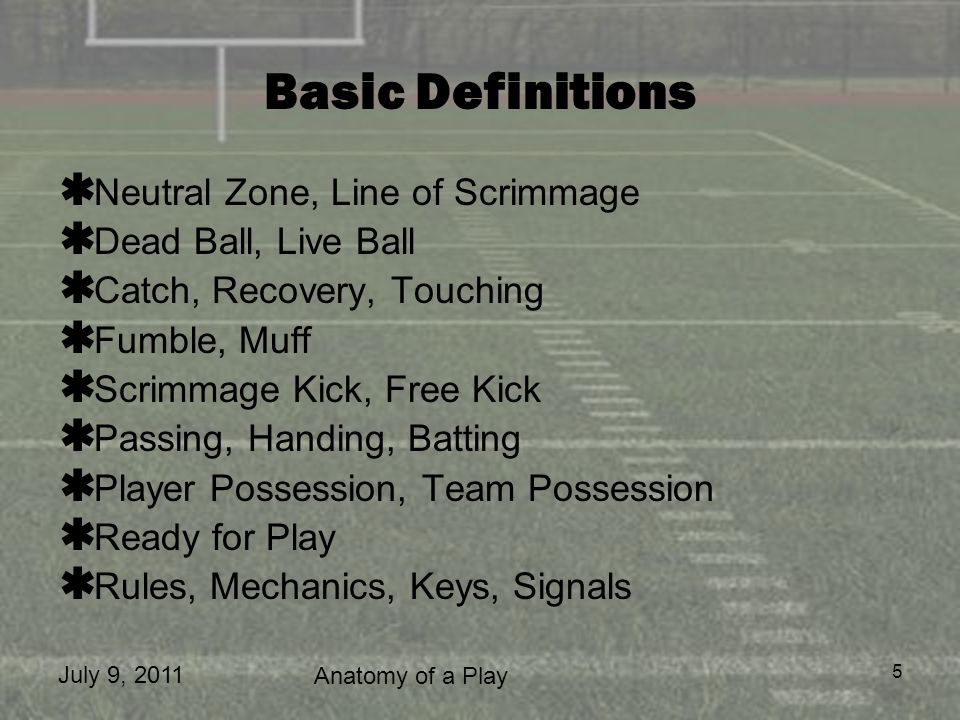 Basic Definitions Neutral Zone, Line of Scrimmage Dead Ball, Live Ball