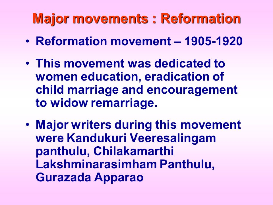 Major movements : Reformation