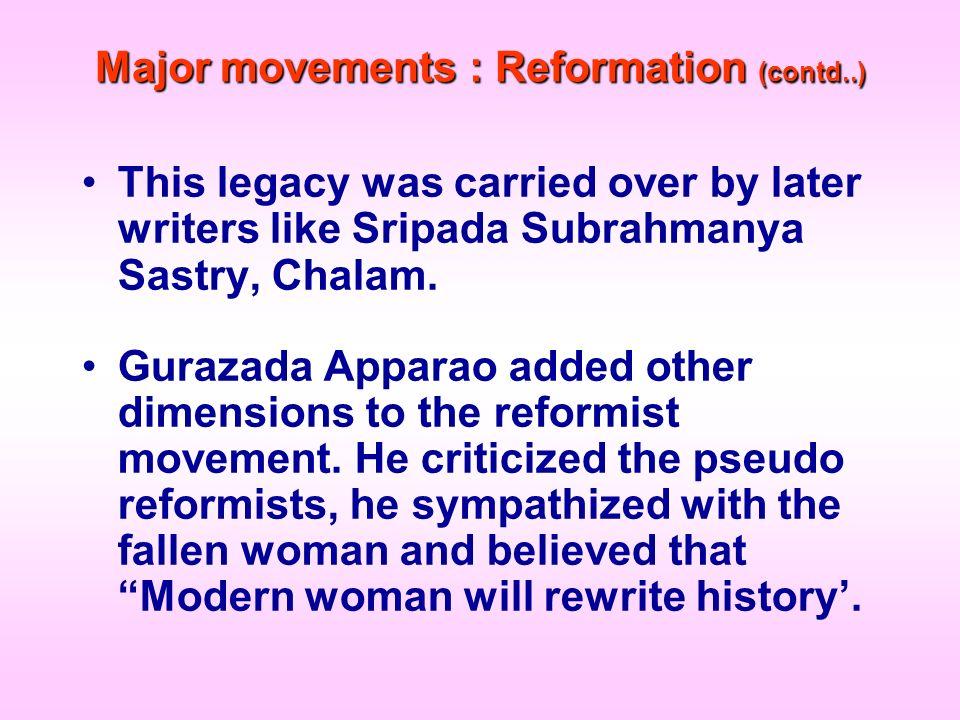 Major movements : Reformation (contd..)