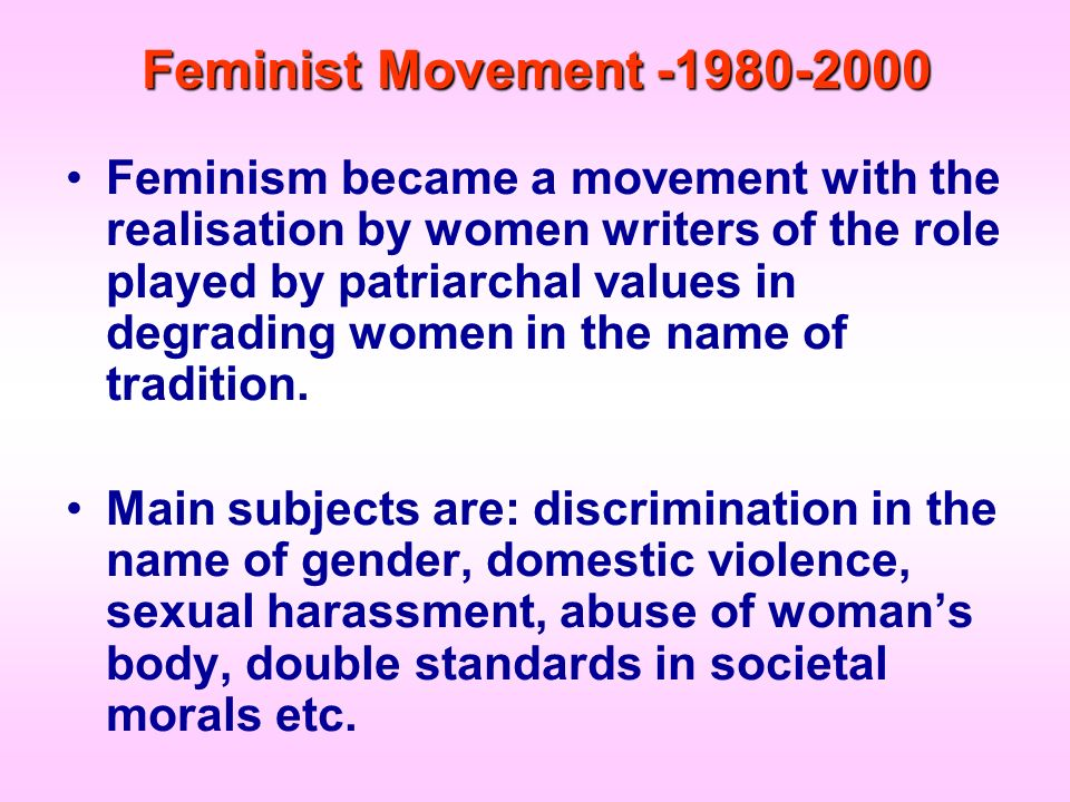 Feminist Movement -1980-2000