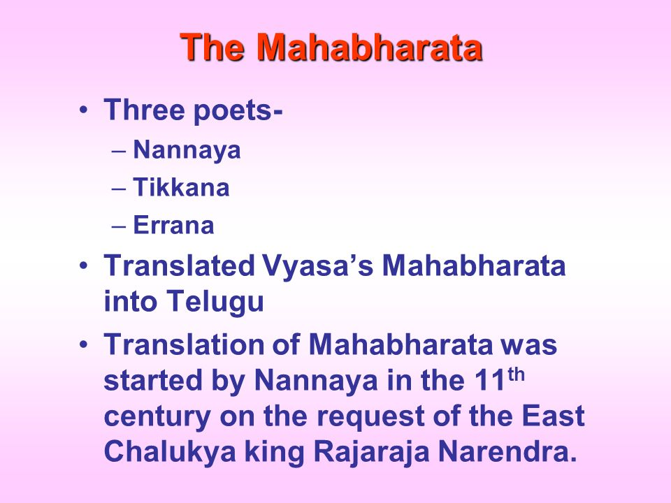 The Mahabharata Three poets-