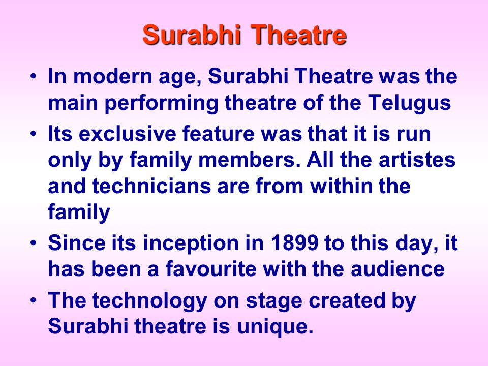 Surabhi Theatre In modern age, Surabhi Theatre was the main performing theatre of the Telugus.