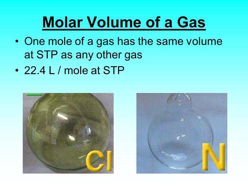 Molar Volume of a Gas One mole of a gas has the same volume at STP as any other gas.