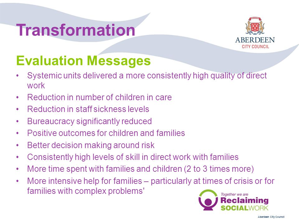 Transformation Evaluation Messages
