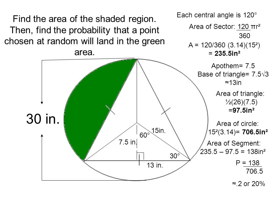 Geometric probability ppt video online download each central angle is 120 find the area of the shaded region then ccuart Gallery