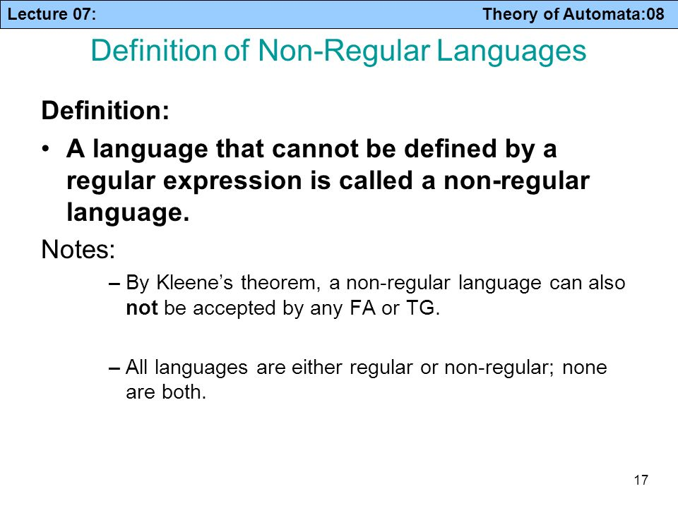 Definition of Non-Regular Languages