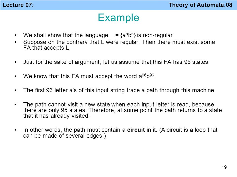 Example We shall show that the language L = {anbn} is non-regular.