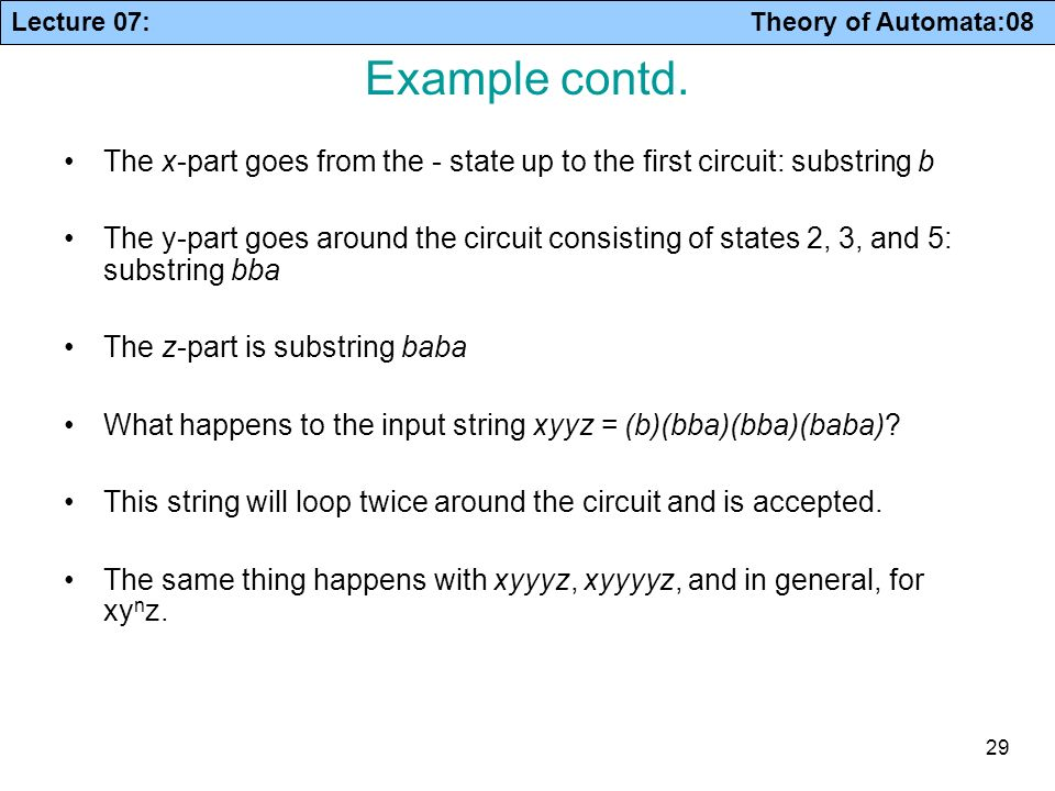 Example contd. The x-part goes from the - state up to the first circuit: substring b.