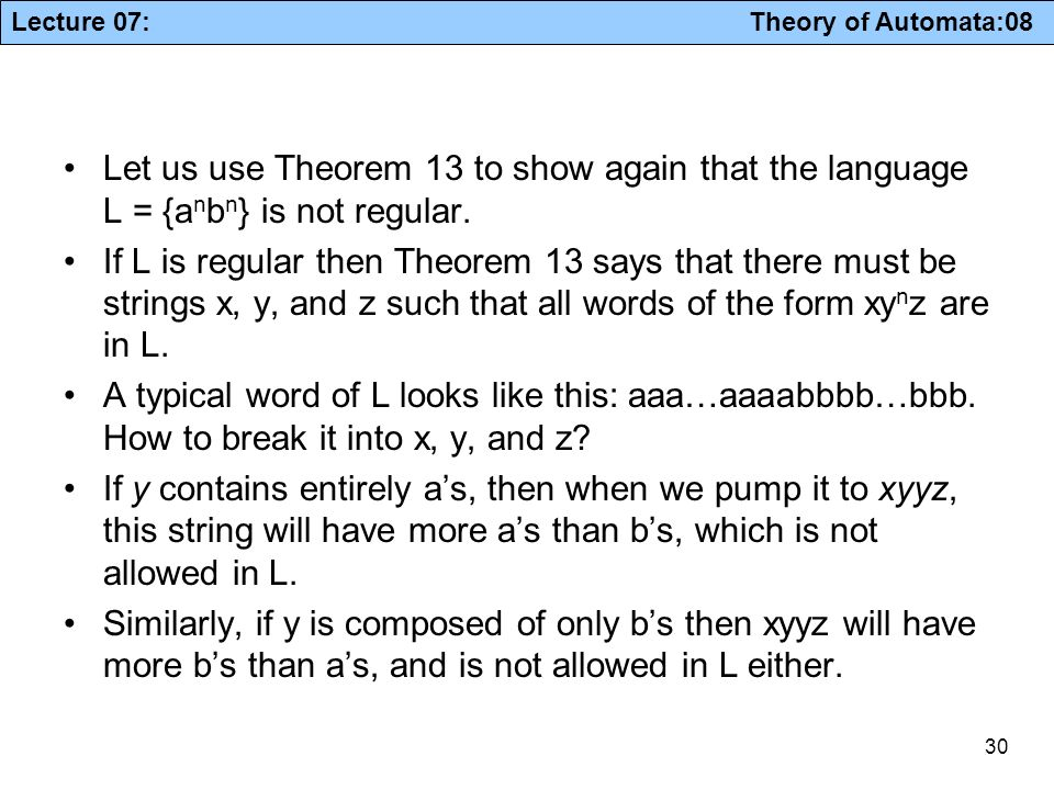 Let us use Theorem 13 to show again that the language L = {anbn} is not regular.