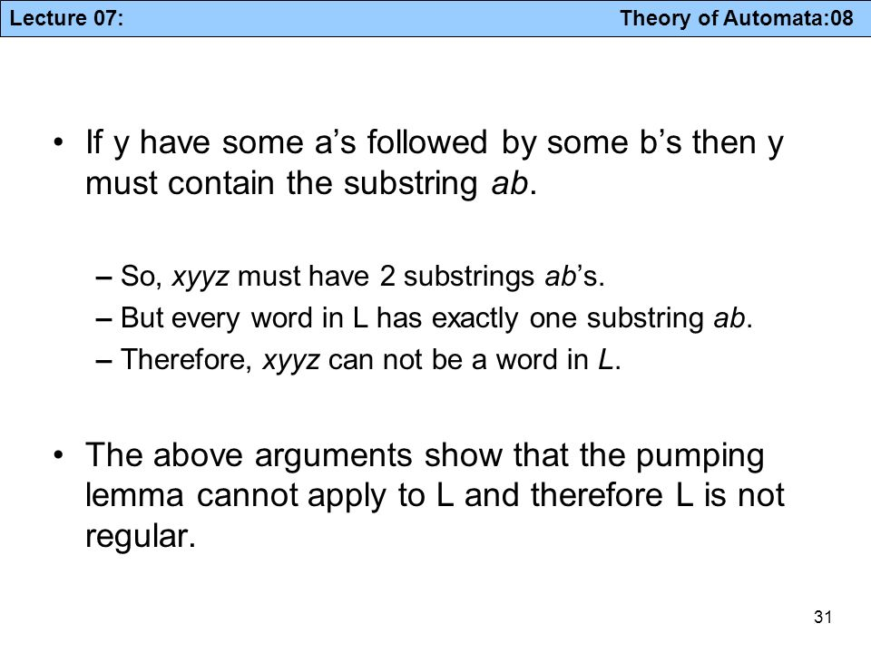 If y have some a's followed by some b's then y must contain the substring ab.