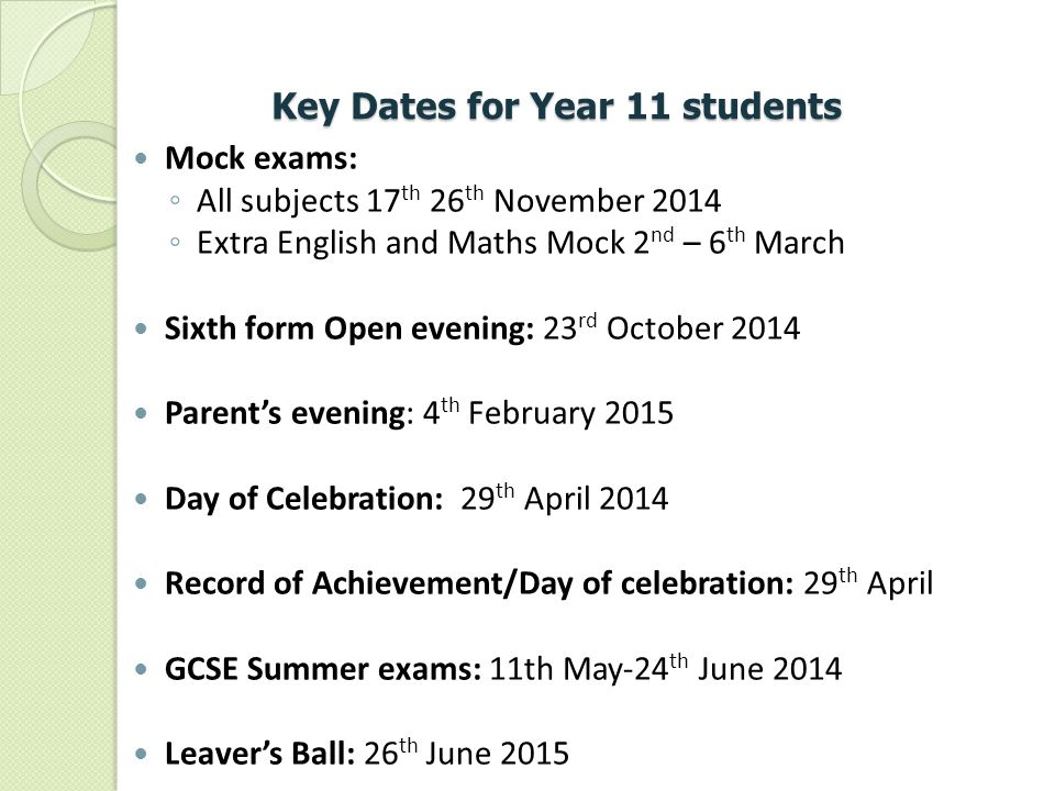 Key Dates for Year 11 students