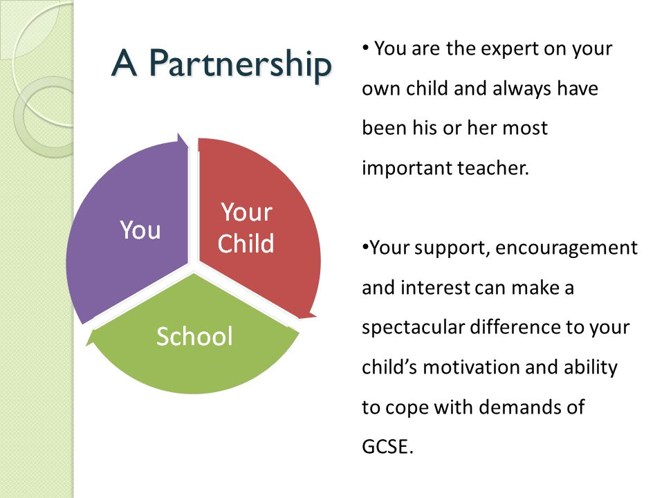 A Partnership You are the expert on your own child and always have been his or her most important teacher.