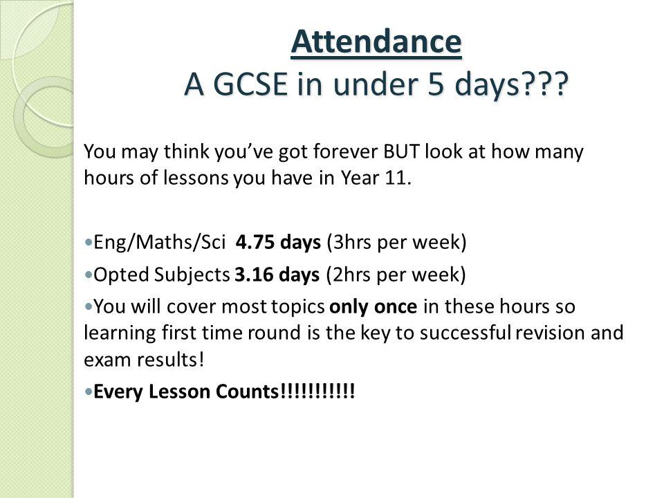 Attendance A GCSE in under 5 days