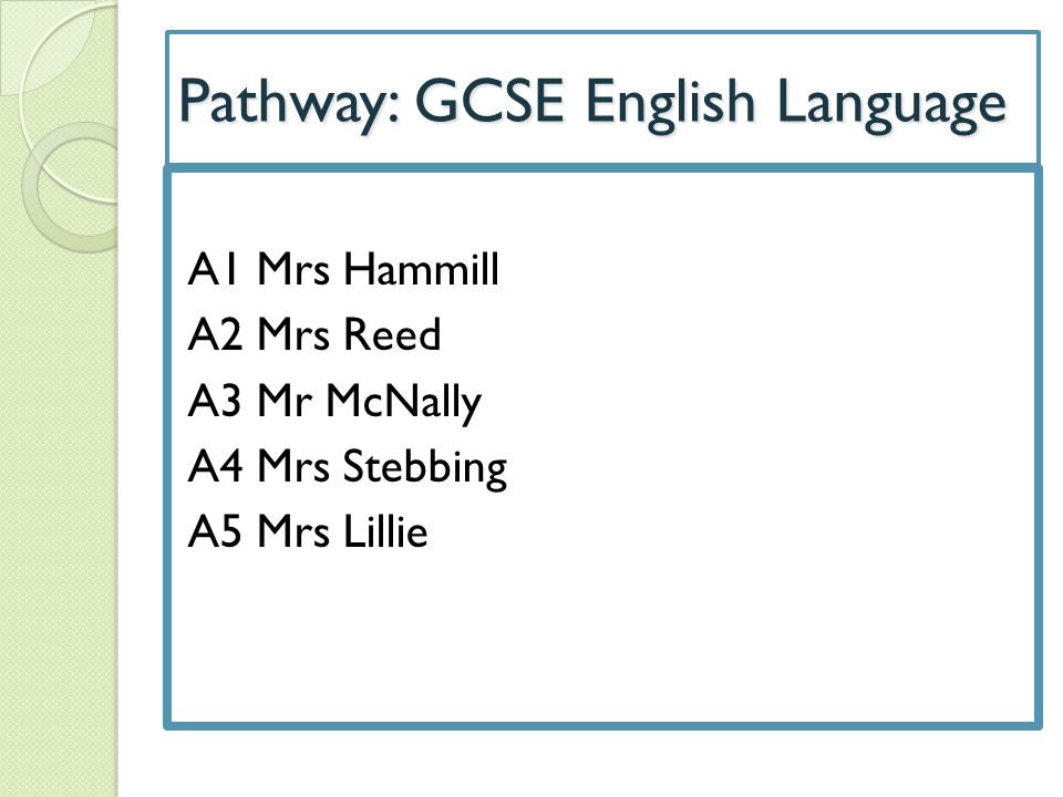 Pathway: GCSE English Language