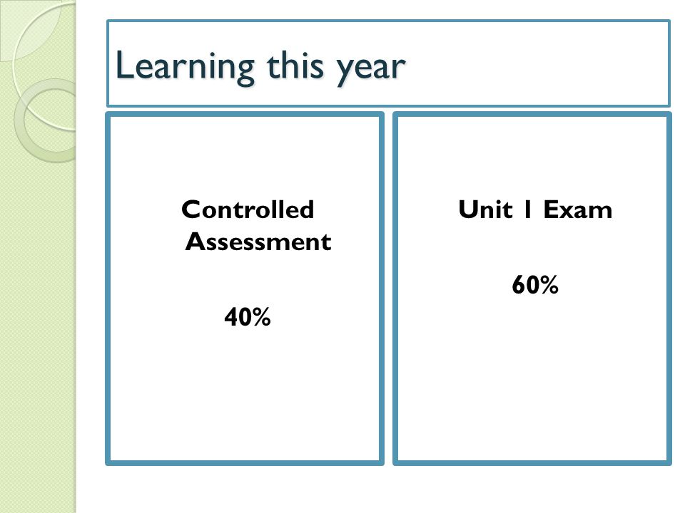 Controlled Assessment 40%