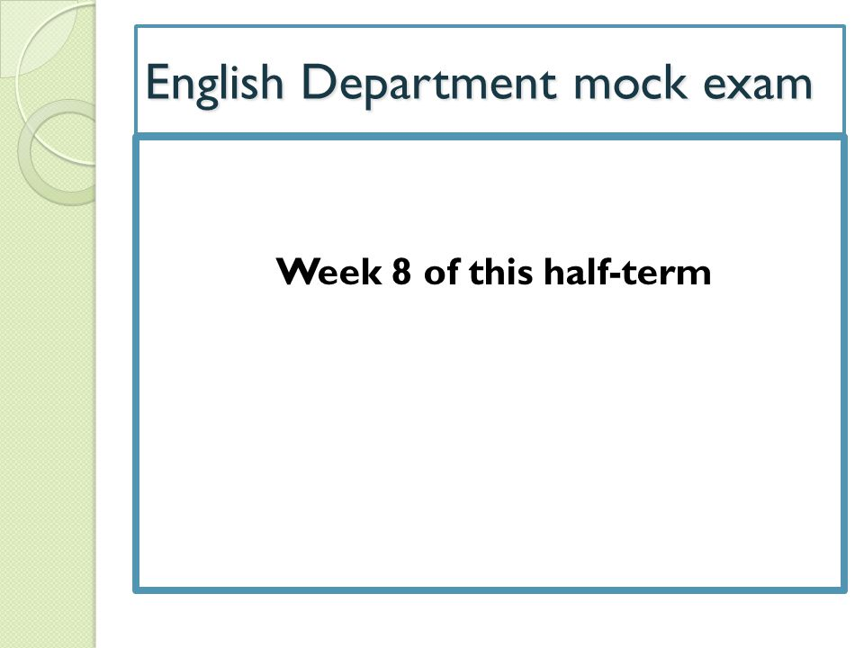 English Department mock exam