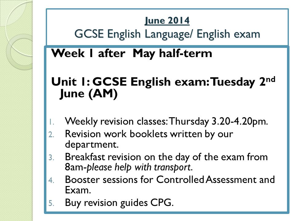 June 2014 GCSE English Language/ English exam