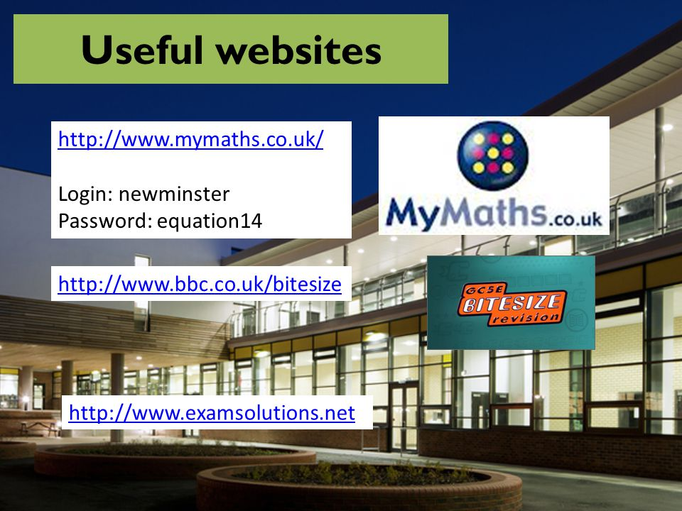 Useful websites http://www.mymaths.co.uk/ Login: newminster