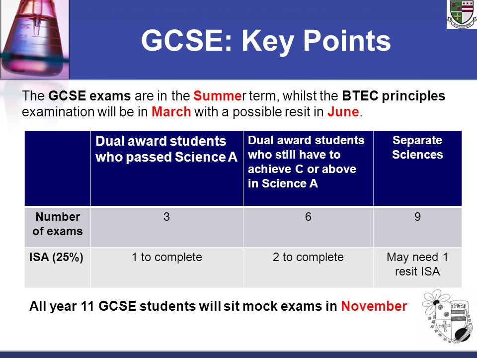 GCSE: Key Points Dual award students who passed Science A