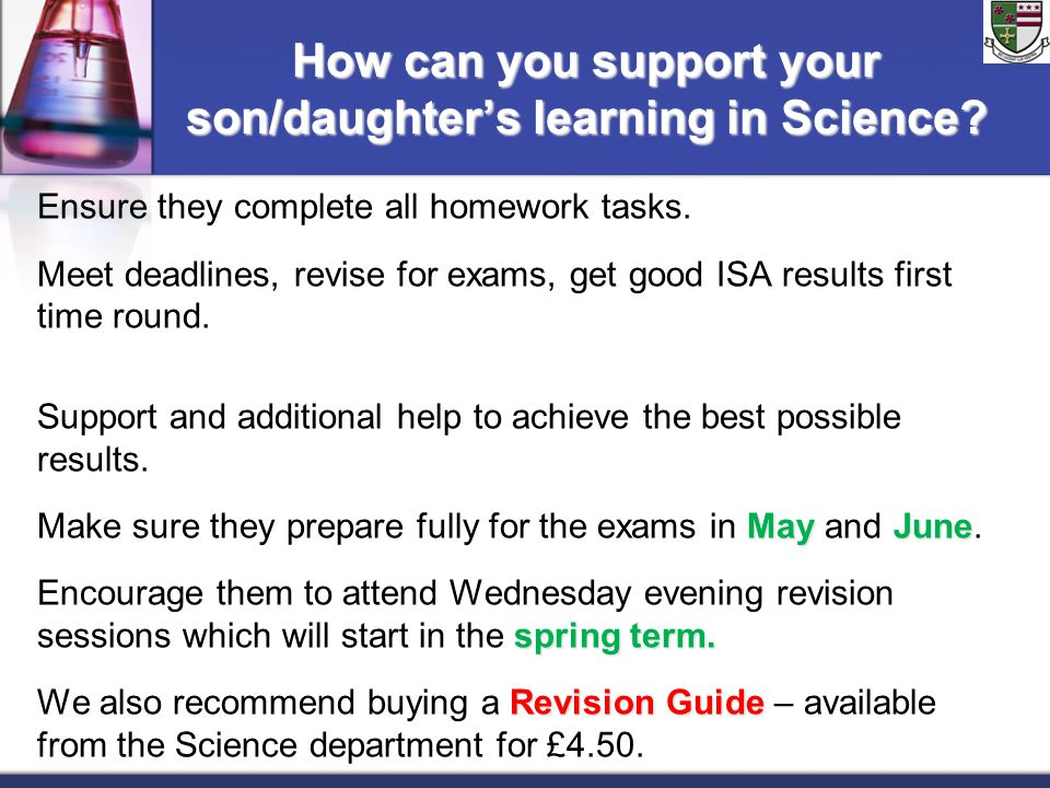 How can you support your son/daughter's learning in Science