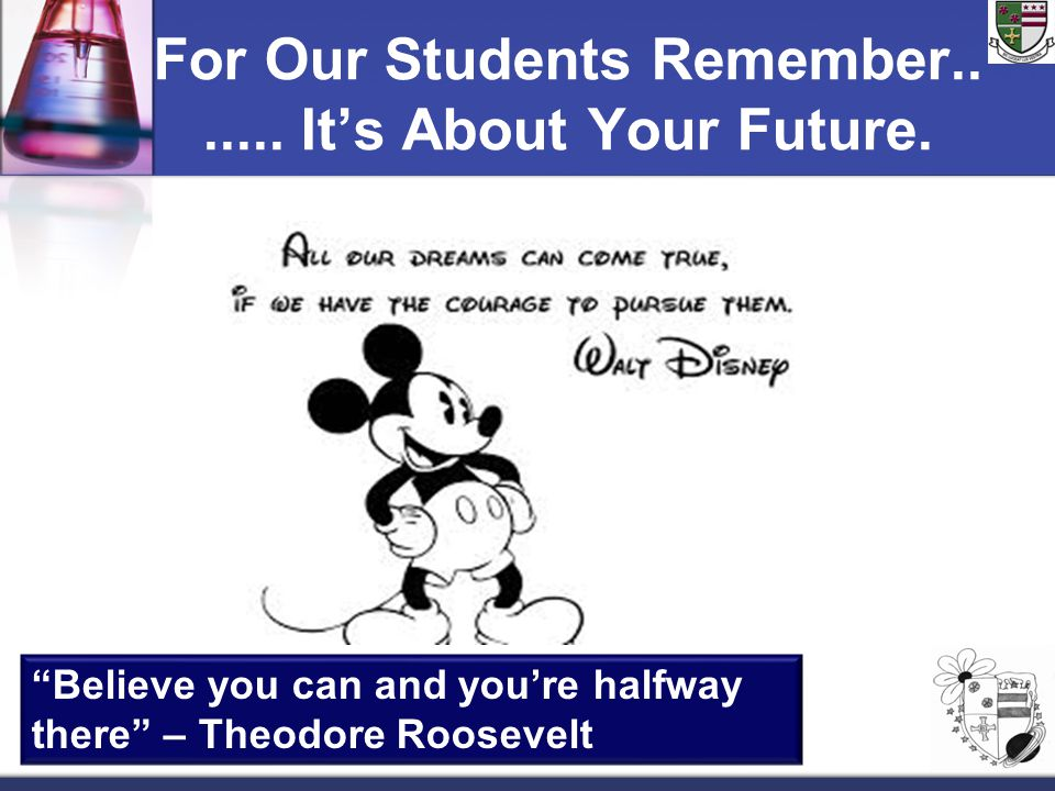For Our Students Remember.. ..... It's About Your Future.