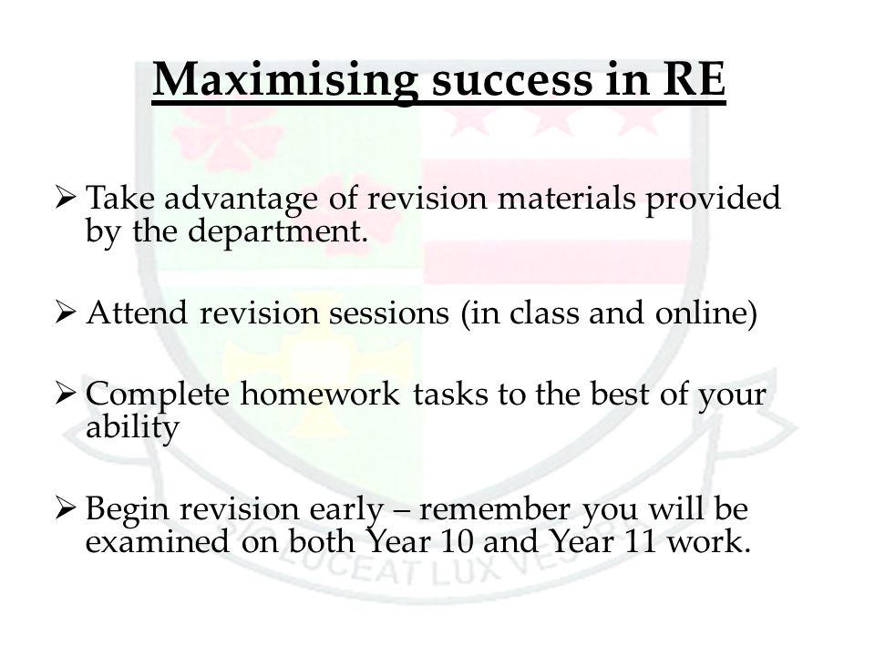 Maximising success in RE