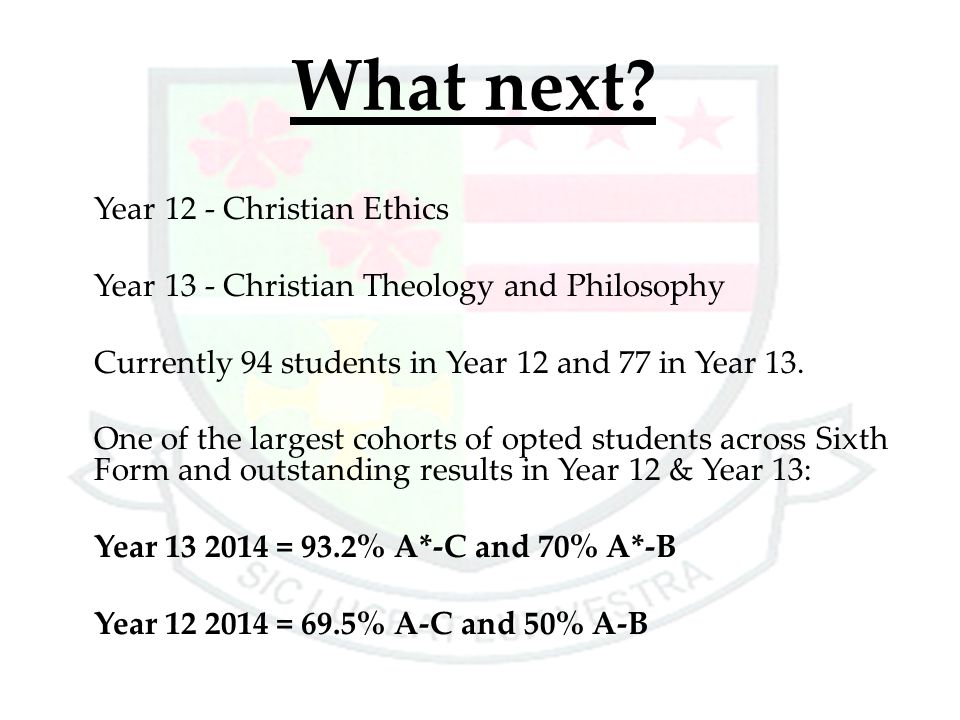 What next Year 13 - Christian Theology and Philosophy