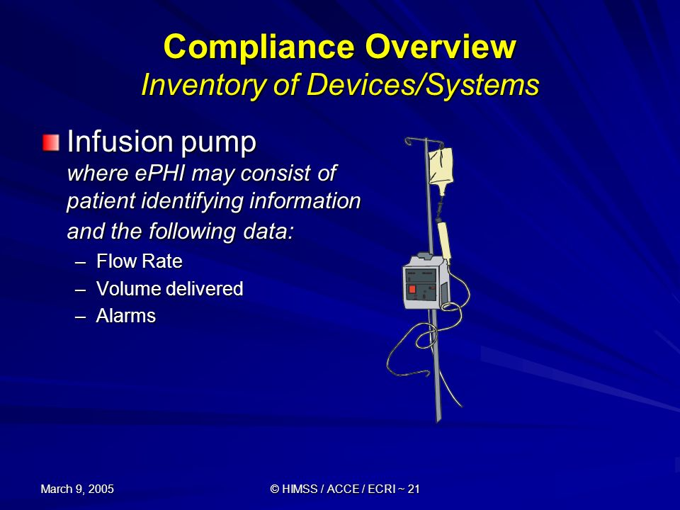 Compliance Overview Inventory of Devices/Systems