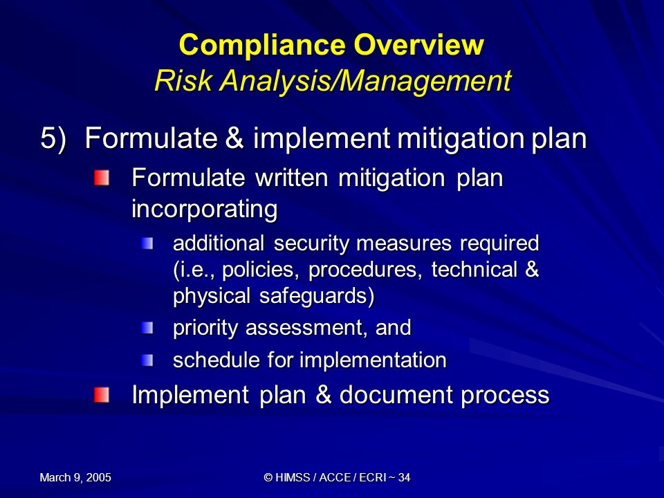Compliance Overview Risk Analysis/Management
